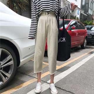 韓版BF風毛邊寬鬆闊腿褲九分褲顯瘦高腰牛仔褲女褲子