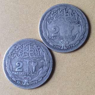 1916 & 17 Egypt 2 Piastres coins.
