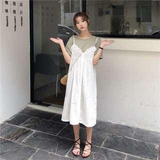 ❤️實拍🇰🇷韓國吊帶蕾絲兩件套連身裙