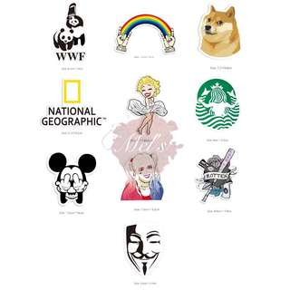 Luggage Stickers • WWF Panda Rainbow Hand Corgi National Geographic Marilyn Monroe Starbucks Mermaid Mickey Mouse Middle Finger Harley Quinn Rotten Heart V for Vendetta