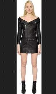 Off the shoulder leather jacket dress