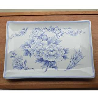 Enamel Tray with Blue and White Peonies,Viking Made in Japan, Wavy Edges and Three legs.