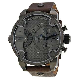 ONLY THE BRAVE CHRONOGRAPH DUAL TIME ZONE DIAL BROWN LEATHER MEN'S WATCH DZ7258