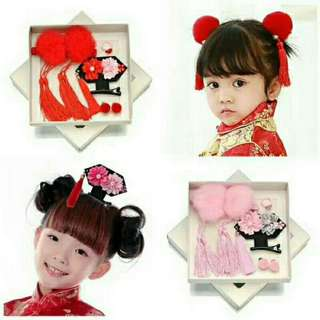 *FREE DELIVERY to WM only / Pre Order 12-14 days* Kids Chinese style hairpin each set as shown design/color.   Free delivery is applied for this item.