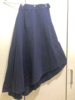台灣品牌 Marjorie 小姐 全新 設計款斜荷葉大圓長裙 深寶藍色
