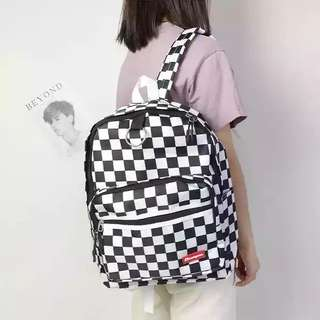 Checkered Grid B&W Backpack