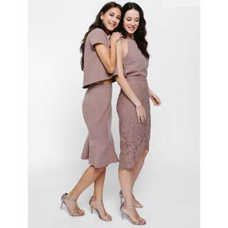LB Laran Asymmetrical Lace Pencil Skirt