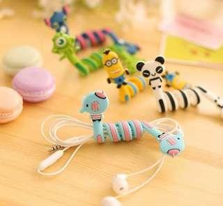 卡通耳機綫 繞線器可愛 收纳扣 三眼仔 小黃人 單眼仔 熊貓 panda minions toy story