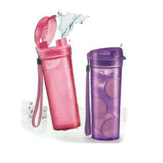 Tupperware New Crystal Drinking Flask(1) PINK/PURPLE 400ML