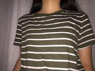 army green striped shirt