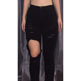 Fashion Nova Black Ripped Jeans