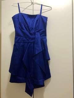 台灣品牌Moma 全新 寶藍色緞面小禮服 女神款 肩帶可拆 兩穿