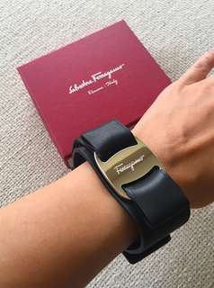 "Ferragamo ""Vara"" Black Leather Bracelet"