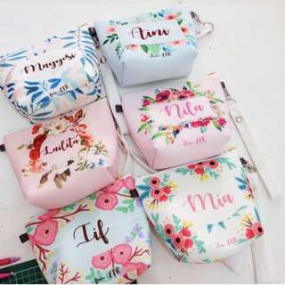 CUSTOM CANVAS POUCH WATERPROOF floral