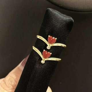 愛心甜美阿卡珊瑚戒指