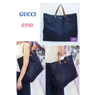 70% New GUCCI 282198 深藍色 Nylon Guccissima 尼龍 壓紋 旅行大袋 手袋 手提袋 Navy Blue Nylon Guccissima Handbag Travel Bag 0