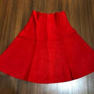 Rok kembang knit merah flare skirt