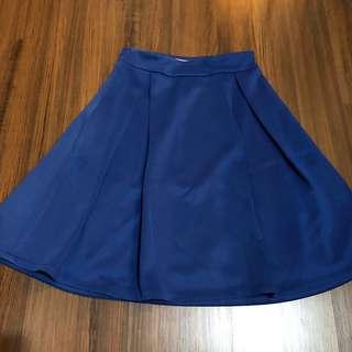 Solemio flare skirt rok kembang biru