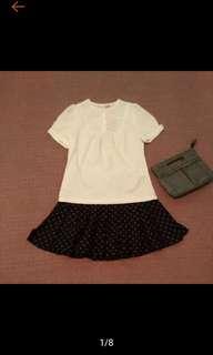 🚚 全新 JUST TWO 俏麗 學院風 公主袖 白色 短版上衣 原價1680