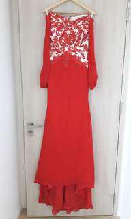 Red Evening Gown Long Sleeves. Priced to clear.