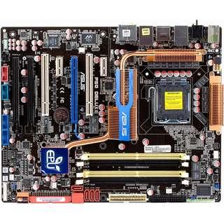 🚚 華碩 P5Q-E 775腳位全固態電容主機板、3個PCI-E插槽、DDR2、Intel P45晶片組、良品附檔板