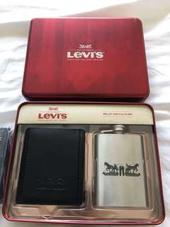 Levi's Leather Wallet and Flask Set