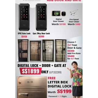 Main Door + Gate + Card Digital Lock Package for Resale/HDB, price start from $1899 (Call 91616282)
