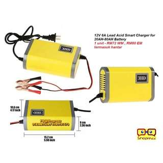 12V 6A Lead Acid Smart Charger for 20AH-80AH Battery