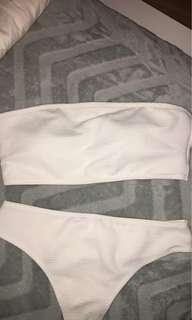 Zaful white strapless bikini