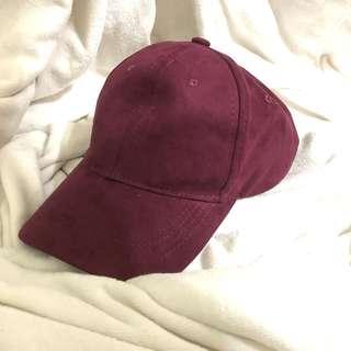 🚚 優雅麂皮酒紅老帽
