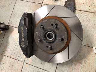 Nissan Skyline R32 Original Aluminium 4 pot caliper with 280mm rotor