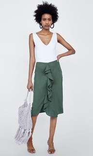 Zara green frilly skirt