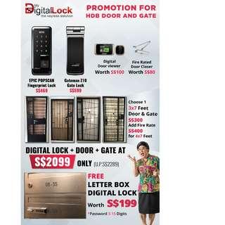 Epic Digital Lock (Fingerprint) + Door + Gate at $2099 (Call 96177025)