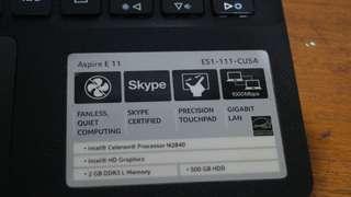 Laptop Notebook Acer aspire E11 ES1 111 CU5A