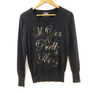 Markus Lupfer black with sequins knit sweater size XS