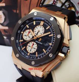 Preowned AUDEMARS PIGUET Royal Oak Offshore 44mm Solid Rose Gold with Ceramic Bezel Auto Chronograph Men's Watch.Model 26401.RO.OO.A002. Swiss Made.