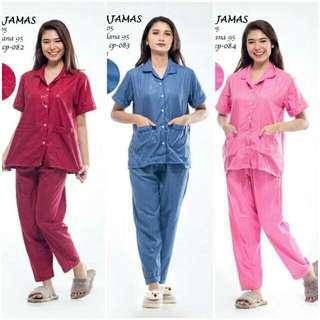 Piyama baju tidur celana panjang katun emboss all size