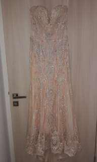 Priced to Clear. Peach Lace Beaded Gown