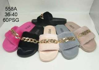 REALPICT sandal selop bulu variasi gelang