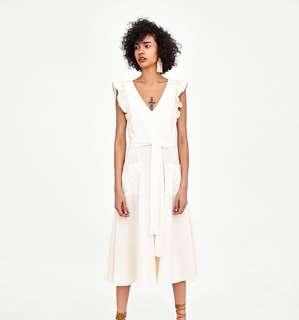 (PO) Ruffled Sleeves Linen Midi Dress