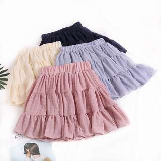 BP502 Anya Youthful Layered Mini Skirt in Black / Cream / Pink / Greyish Blue