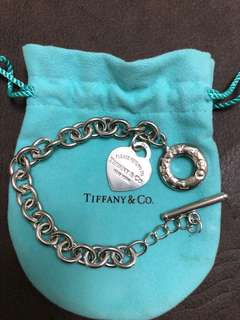 Authentic Tiffany heart charm toggle bracelet