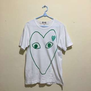 CdG PLAY Outline Heart T-Shirt - White/Green