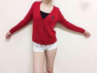🚚 紅色針織可愛外套