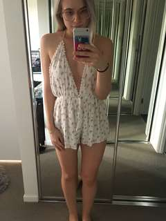 V Neck Backless playsuit