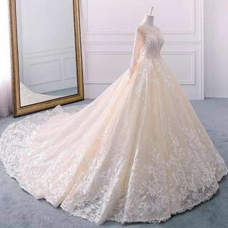 🚚 Wedding Gown For Sale champagne long sleeve