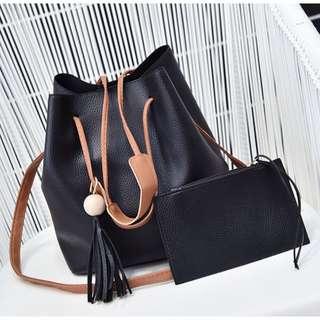 2in1 handbag tote bucket bag