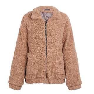 Oversized faux lambs wool jacket