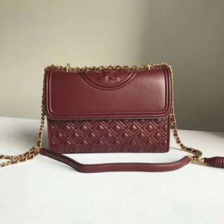 Tory Burch Maroon Leather Fleming Shoulder Chain Bag