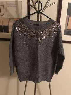Warehouse sparkly grey knit jumper 6